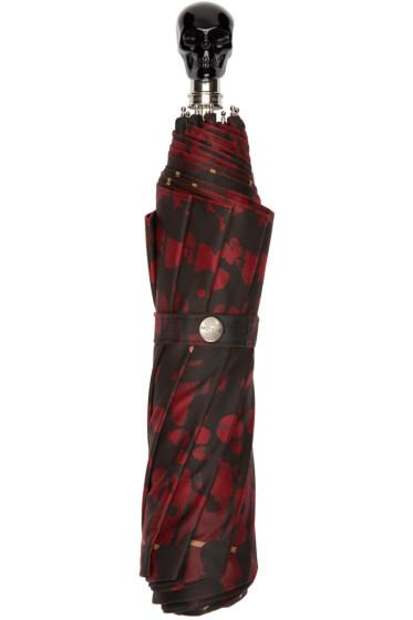 Alexander McQueen - Red & Black Tartan Compact Umbrella