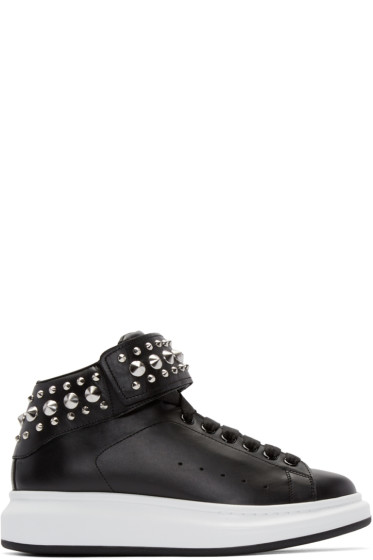Alexander McQueen - Black Leather Studded High-Top Sneakers