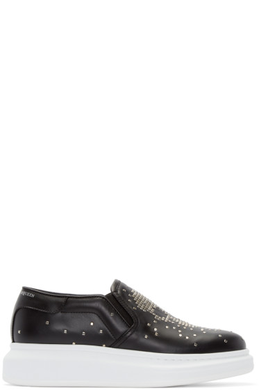 Alexander McQueen - Black Studded Skull Slip-On