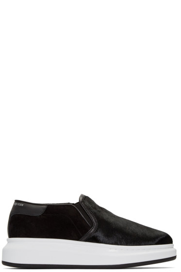 Alexander McQueen - Black Calf-Hair Oversized Sneakers