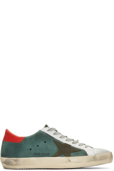 Golden Goose - Green Suede Superstar Sneakers