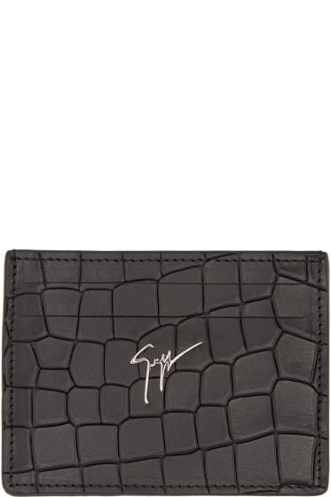 Giuseppe Zanotti - Black Croc-Embossed Card Holder