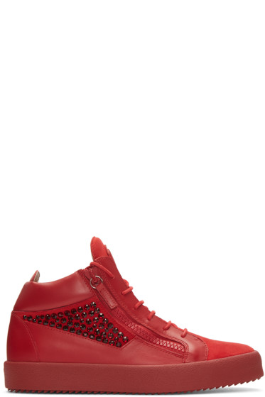 Giuseppe Zanotti - Red Studded London Mid-Top Sneakers