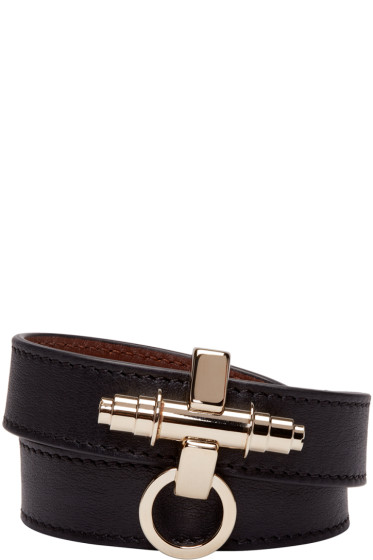 Givenchy - Black Leather Obsedia Bracelet