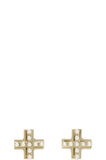 Givenchy - Gold T-Cut Earrings