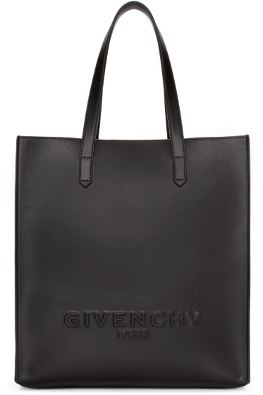 Givenchy - Black Leather Debossed Tote