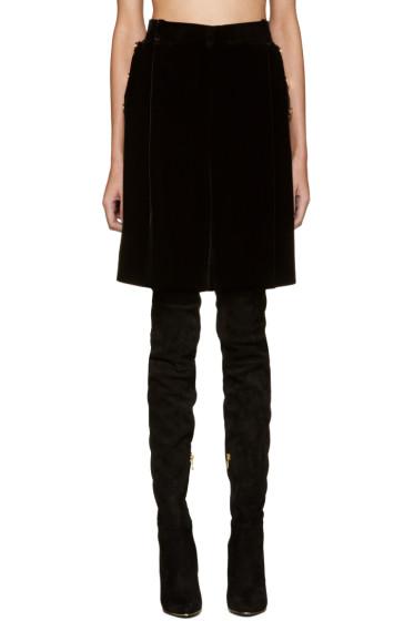 Givenchy - Black Velvet Oversized Shorts