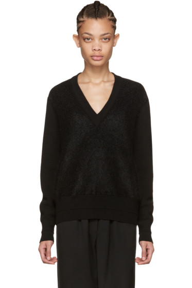 Givenchy - Black Mohair V-Neck Sweater