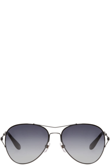 Givenchy - Black Wire-Frame Aviator Sunglasses