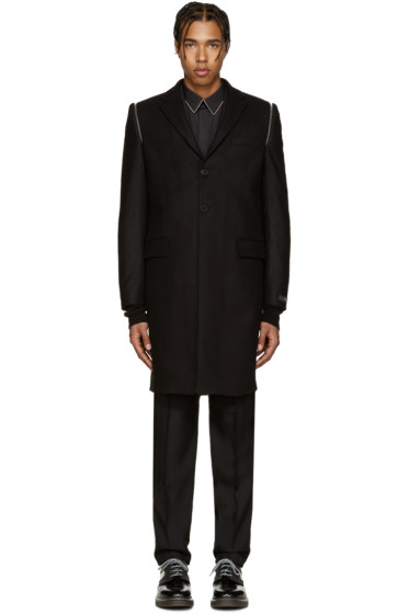 Givenchy - Black Wool Zippered Coat