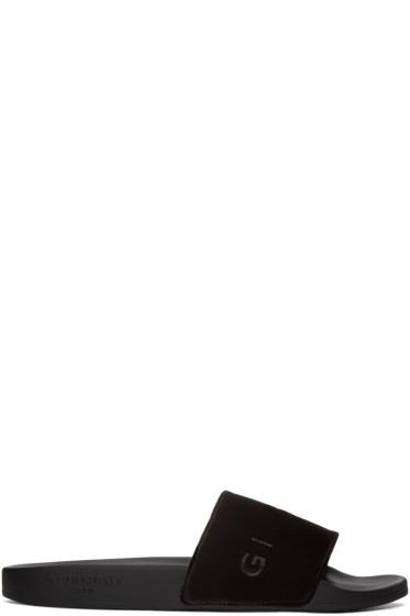 Givenchy - Black Velvet Logo Slides