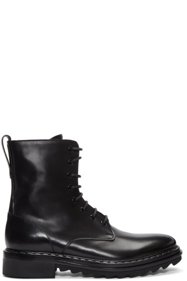 Givenchy - Black Leather Lace-Up Boots