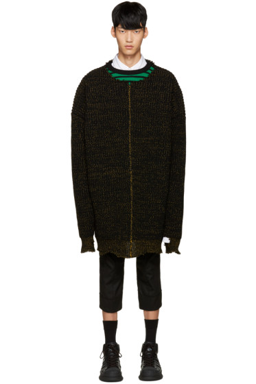 Raf Simons - Black Oversized Distressed Sweater