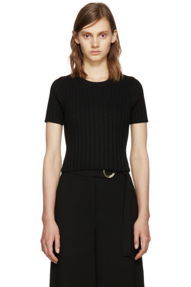 Proenza Schouler - Black Ribbed Cropped Top