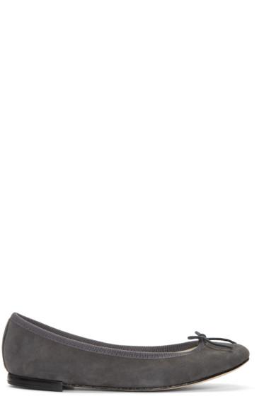 Repetto - Grey Suede Cinderella Ballerina Flats