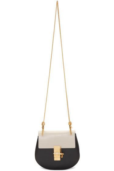 Chloé - Black & White Mini Drew Saddle Bag