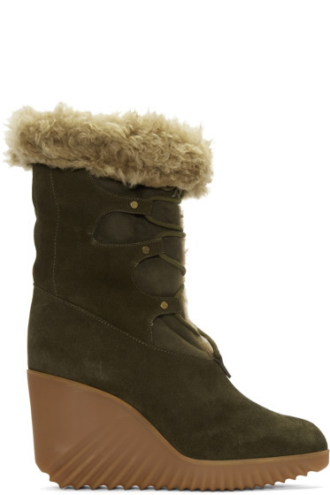 Chloé - Green Shearling Foster Boots