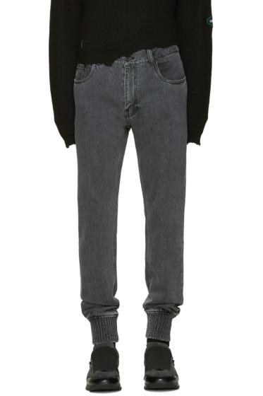 Juun.J - Black Elastic Cuff Jeans