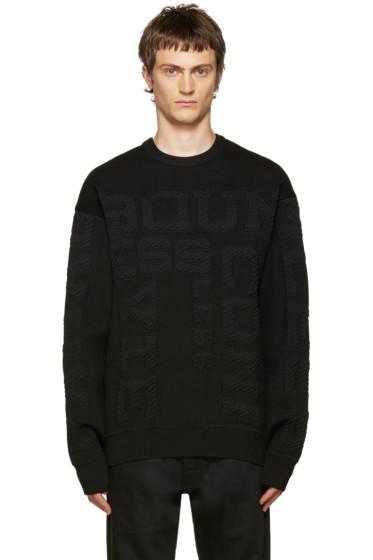 Juun.J - Black Embossed Lettering Sweater