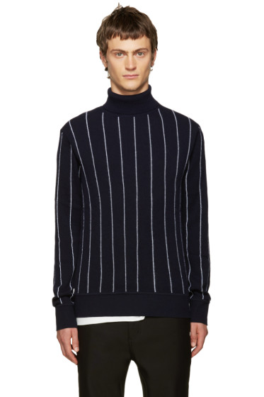 Juun.J - Navy Pinstriped Turtleneck