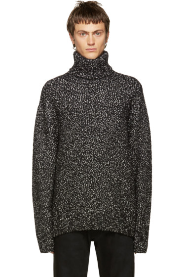Juun.J - Black Bouclé Turtleneck