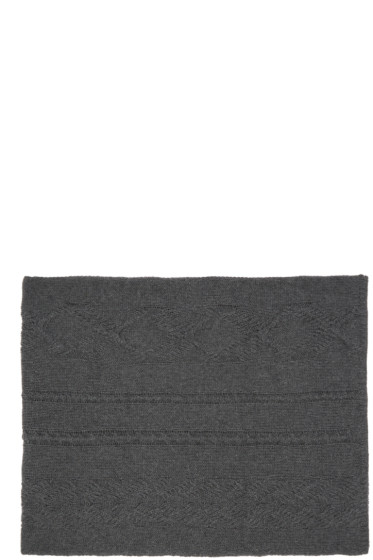 BLK DNM - Grey Cable Knit Scarf