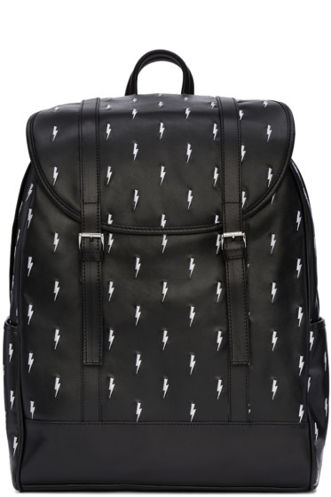 Neil Barrett - Black & White Leather Thunderbolt Backpack