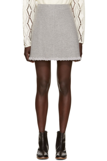 See by Chloé - Grey Woven Chiffon Skirt