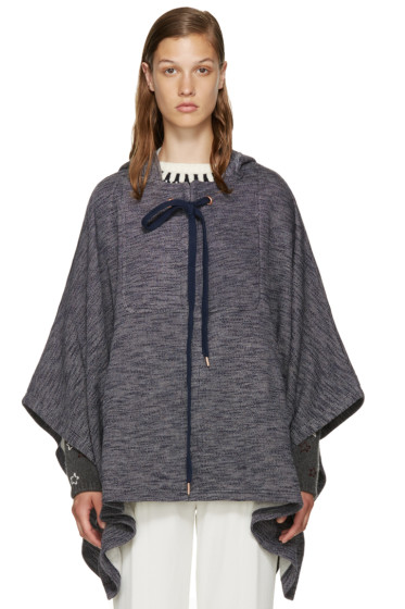 See by Chloé - Blue Oversized Cape Hoodie