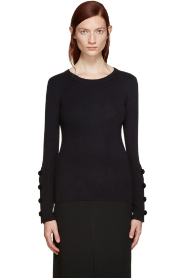 See by Chloé - Navy Button Sleeve Sweater