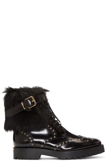 Burberry - Black Fur-Trimmed Whenaston Boots