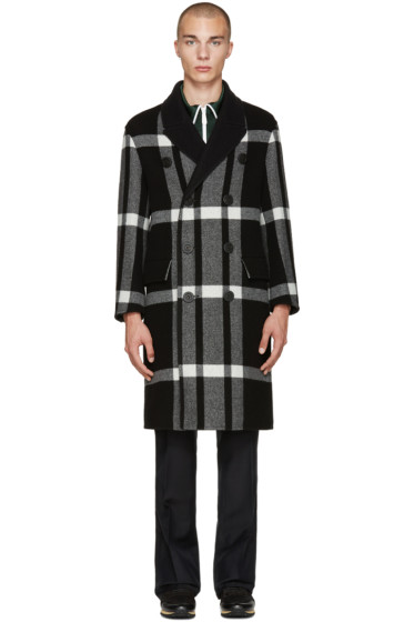 Burberry - Black Check Oversized Coat