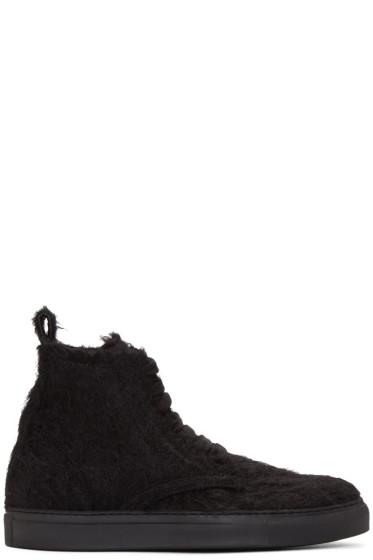 Ann Demeulemeester - Black Mohair High-Top Sneakers