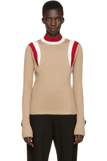 Marni - Tan Striped Collar Sweater