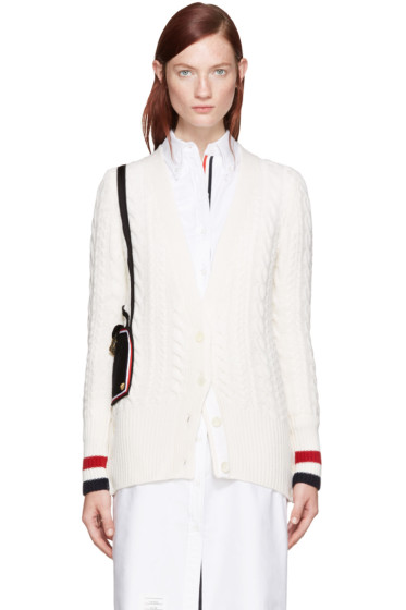 Thom Browne - White Shoulder Bag Cardigan