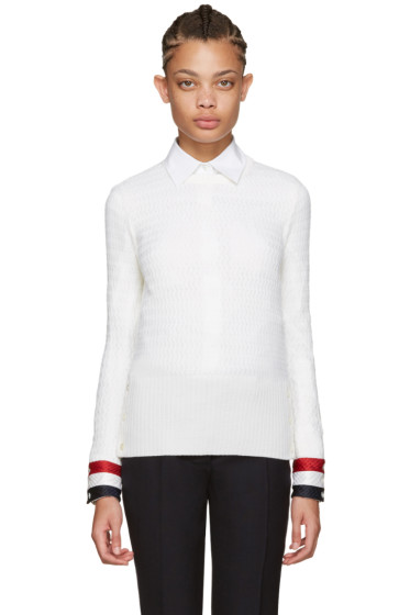 Thom Browne - White Wool Sweater
