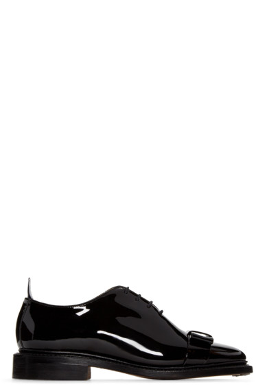 Thom Browne - Black Patent Leather Bow Oxfords