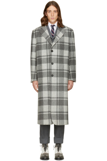Thom Browne - Grey Wool Wide Shoulder Madras Coat