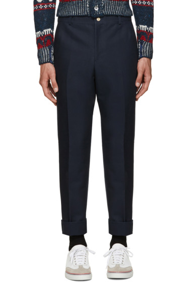 Thom Browne - Navy Unconstructed Chino Trousers