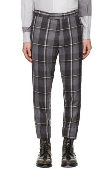Thom Browne - Grey Wool Plaid Trousers