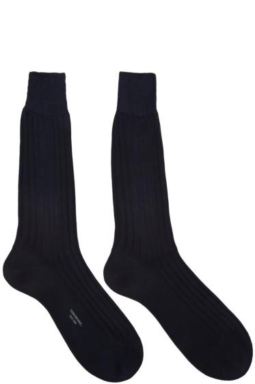 Thom Browne - Navy Ribbed Socks