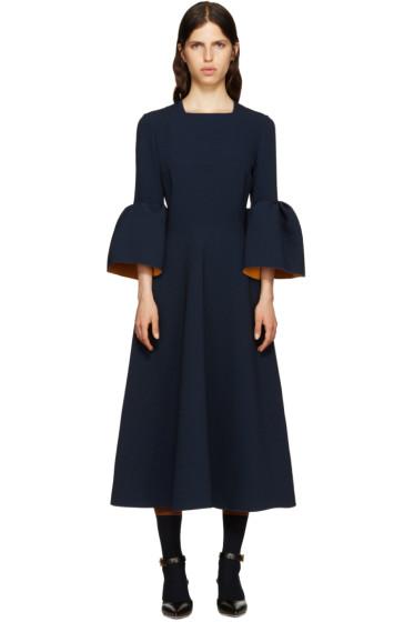Roksanda - Navy Ruffle Turlin Dress