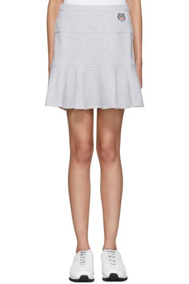 Kenzo - Grey Flared Tiger Miniskirt
