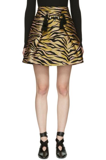 Kenzo - Beige Tiger Stripes Miniskirt