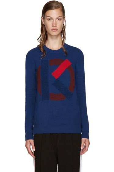 Kenzo - Blue Intarsia Logo Sweater