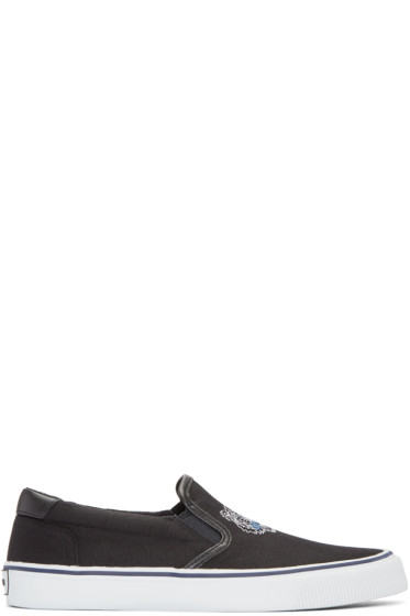 Kenzo - Black Tiger Slip-On Sneakers