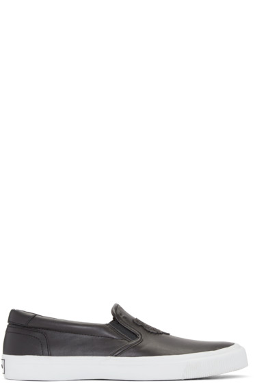 Kenzo - Black Leather Tiger Slip-On Sneakers