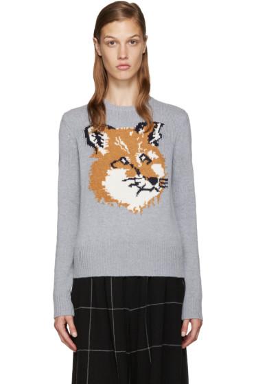Maison Kitsuné - Grey Wool Fox Sweater