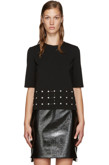 Versus - Black Studded Cut-Out T-Shirt