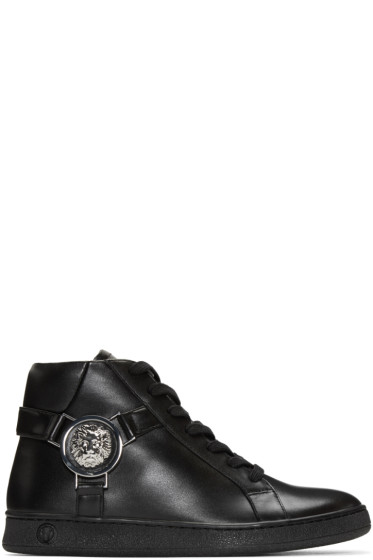 Versus - Black Leather High-Top Sneakers